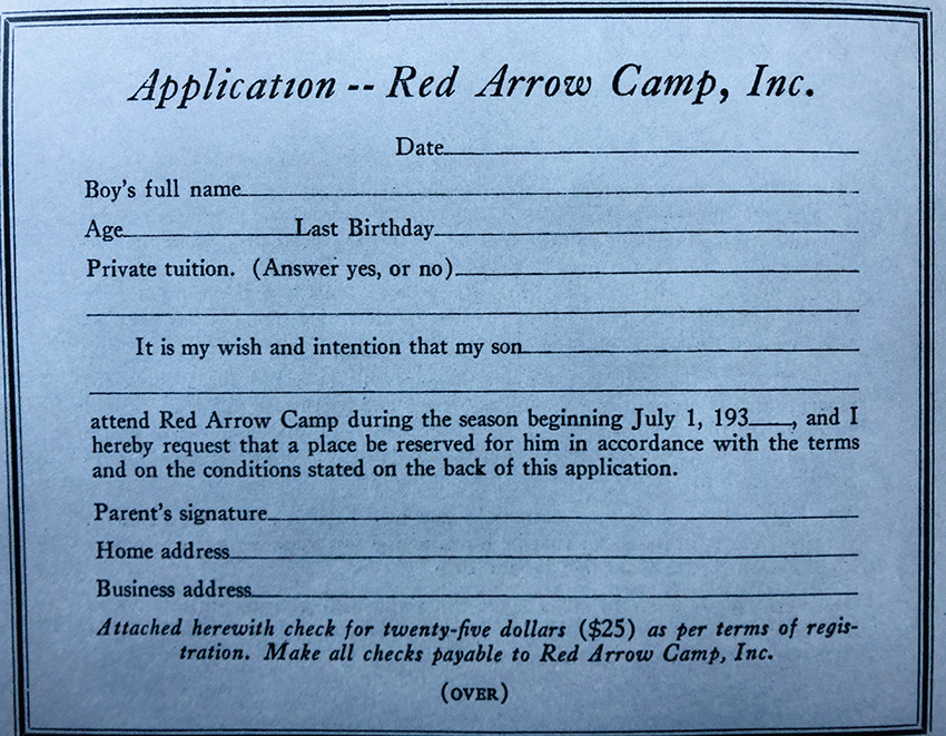 Red Arrow Camp First Application